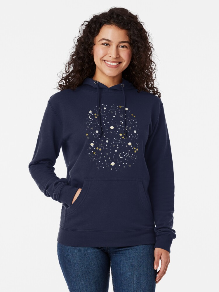Alternate view of cosmos, moon and stars. Astronomy pattern Lightweight Hoodie