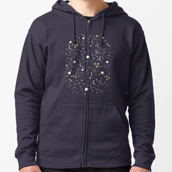 Galaxy - cosmos, moon and stars. Astronomy pattern. Cute cartoon universe design. Zipped Hoodie