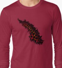 Red Leopard Print Ripped Tear Design  Long Sleeve T-Shirt