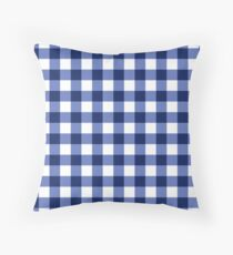 Blue and White Gingham Pattern Throw Pillow