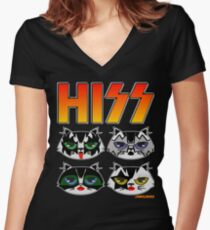 HISS CAT Women's Fitted V-Neck T-Shirt