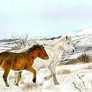 Winter Horses Watercolour by LPDesignsAndArt