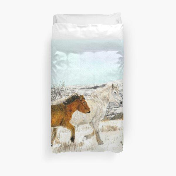 Winter Horses Watercolour Duvet Cover