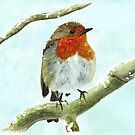 Winter Robin Watercolour by LPDesignsAndArt
