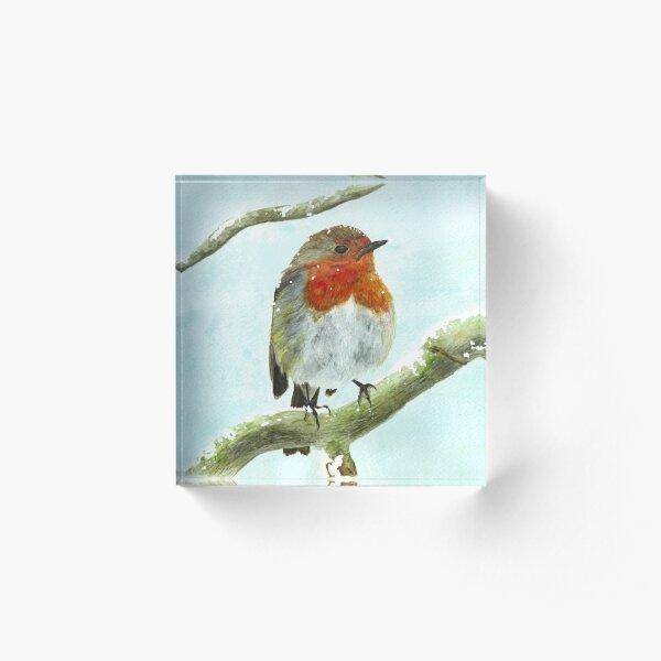 Winter Robin Watercolour Acrylic Block