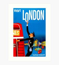 """VISIT LONDON"" Vintage Travel Advertising Print Art Print"