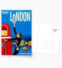 """BESUCH LONDON"" Vintage Travel Advertising Print Postkarten"