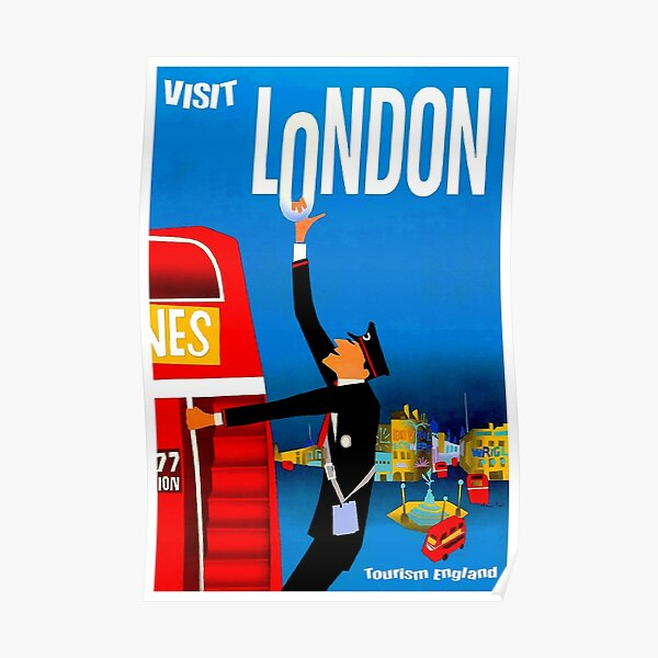 """VISIT LONDON"" Vintage Travel Advertising Print Poster"