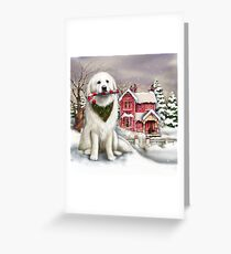Great Pyrenees in the snow Greeting Card