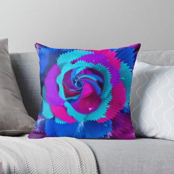 Purple Blue Rose Throw Pillow