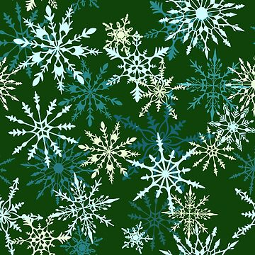 Snowflake Flurry in Forest Green and Gold by carabara
