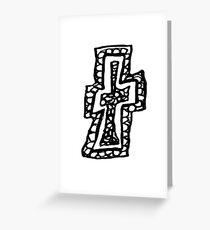 Lower case black and white Alphabet letter T Greeting Card