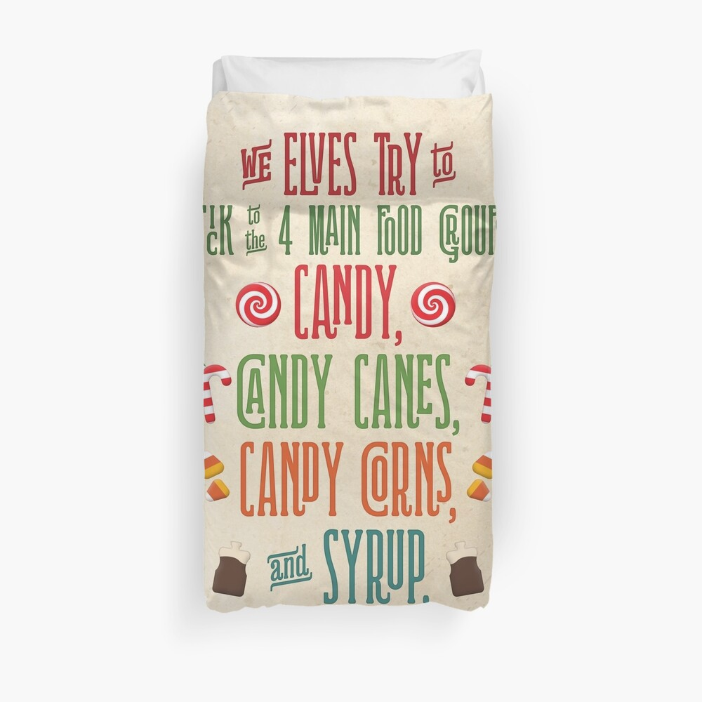 Buddy the Elf - The Four Main Food Groups Duvet Cover