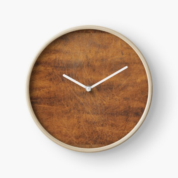 Tan Brown Old Leather | Ethical Cowhide and Skin Clock