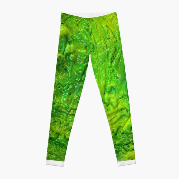 Green Contemporary Abstract Modern Painting Leggings