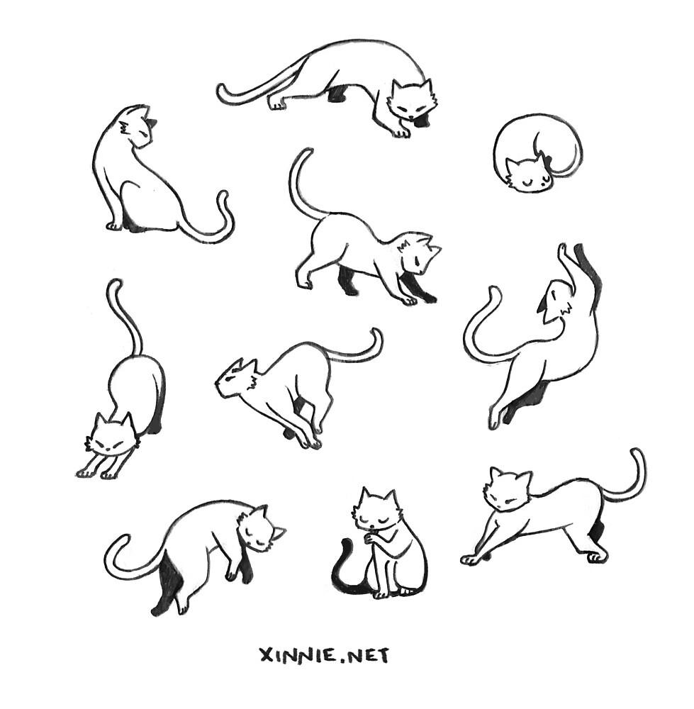 Kitties - Black on White by xinniepyon