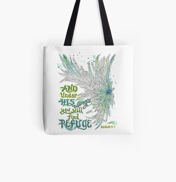 Under His Wings All Over Print Tote Bag