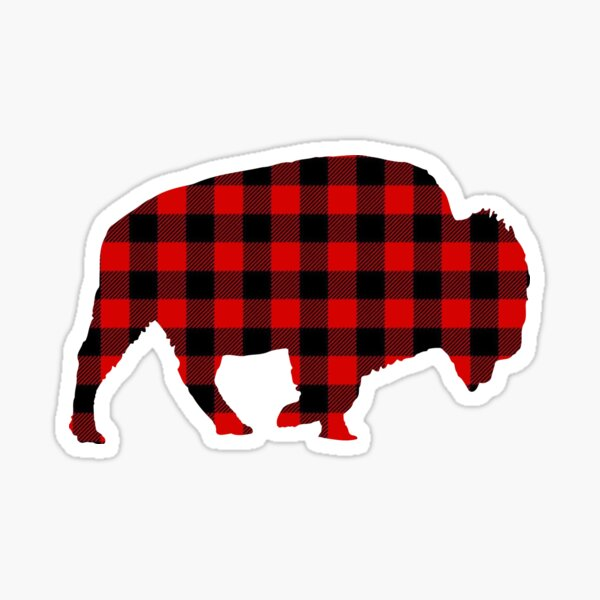 Red Check Buffalo Plaid Bison Sticker