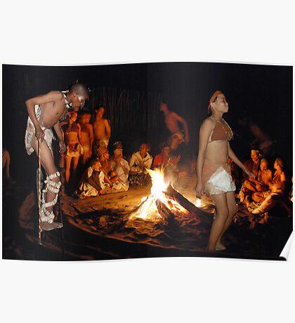 San (Kalahari) Bushmen Healing Ceremony Collage, Botswana, Africa Poster