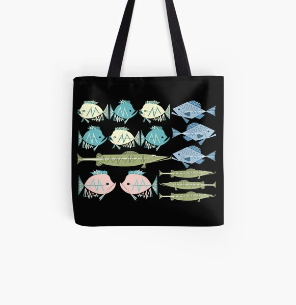 Atomic Fish Pattern All Over Print Tote Bag