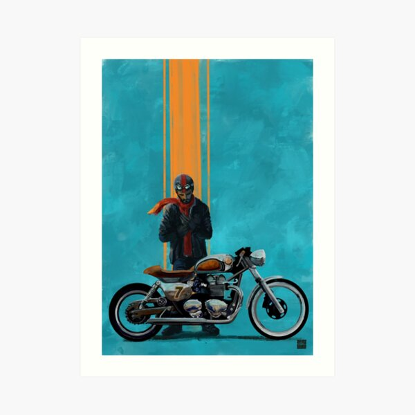 Vintage caferacer red scarf rider Art Print