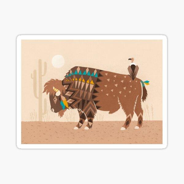 Buffalo & vulture Sticker
