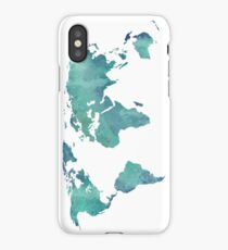 Watercolor map in turquoise  iPhone Case