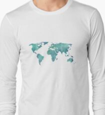 Watercolor map in turquoise  T-Shirt