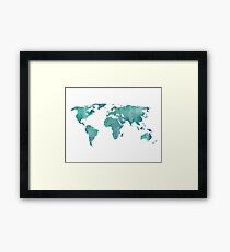 Watercolor map in turquoise  Framed Print