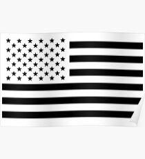 Black and White USA Flag Poster