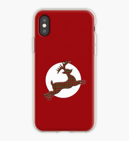 Tartan Reindeer with Moon iPhone Case