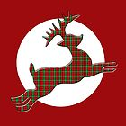 Tartan Reindeer with Moon by LaRoach