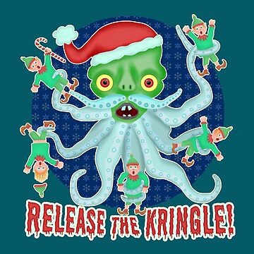 Funny Christmas Release the Kringle Santa Claus Kraken by emkayhess