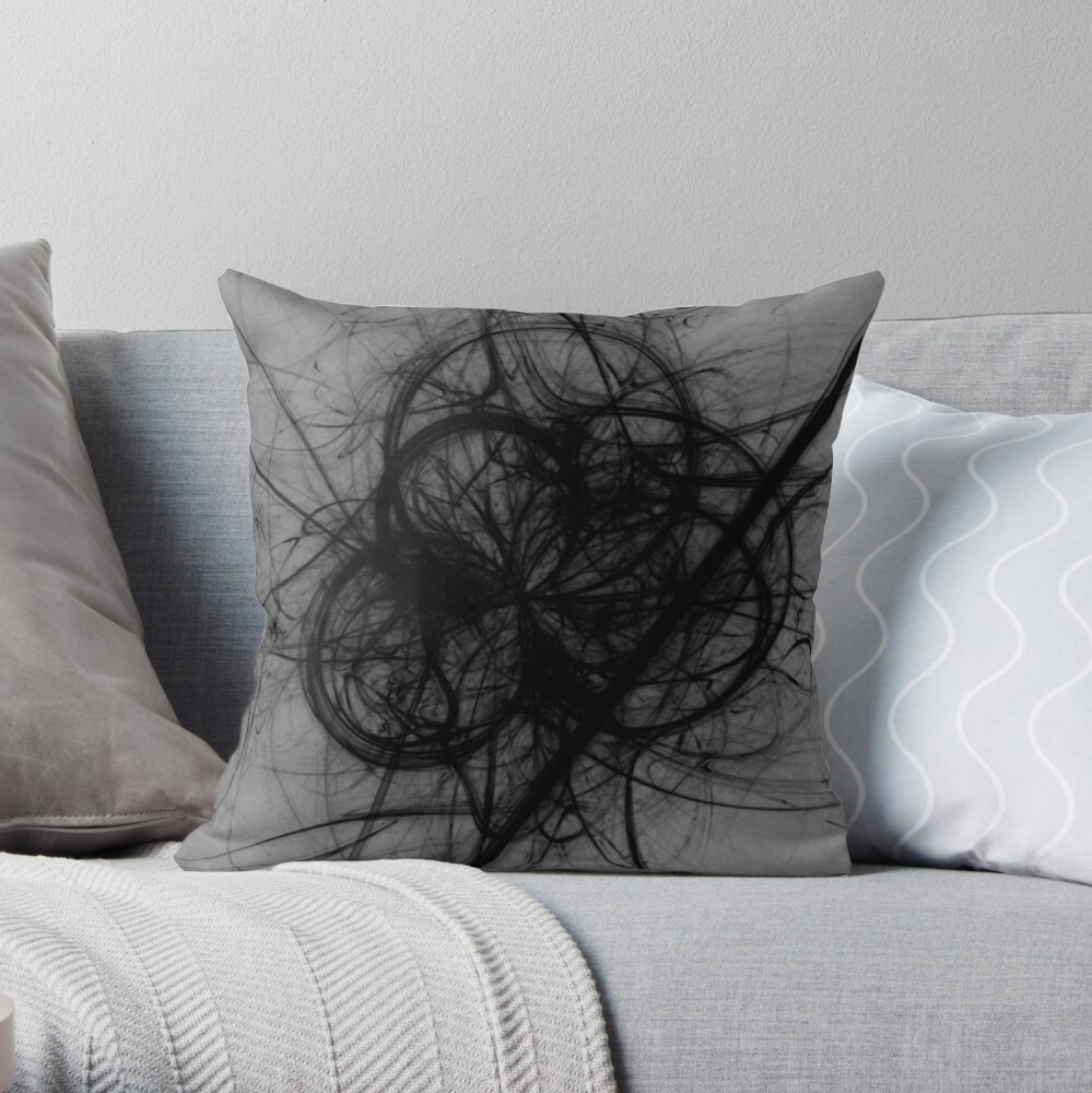 BLACK AND GREY GOTHIC WISP DESIGN FOR FUNKY CLOTHING AND DARK HAUNTED CASTLES IN SCOTLAND  Throw Pillow