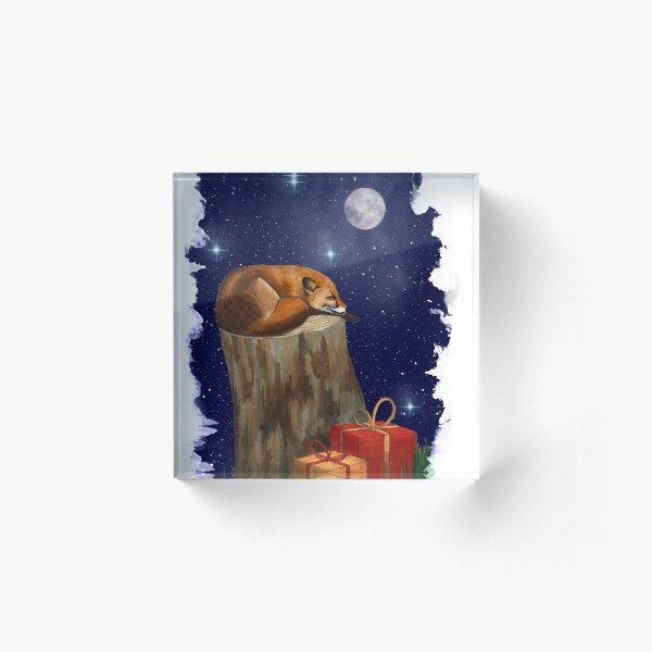 Fox Christmas Pen Illustration Acrylic Block