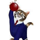 Kitten in a Suit playing with Bauble by LPDesignsAndArt