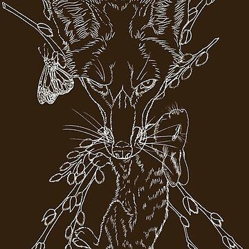 Fox and Rabbit Hare (White) by danibeez