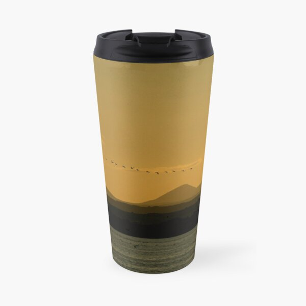 Geese over Derryveagh mountains at Twilight Travel Mug
