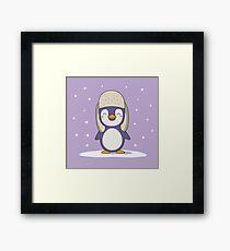 Kawaii Cute Christmas Winter Penguin Framed Print