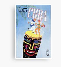 Lámina metálica 1958 Visita Cuba Travel Poster