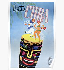 1958 Visit Cuba Travel Poster Poster