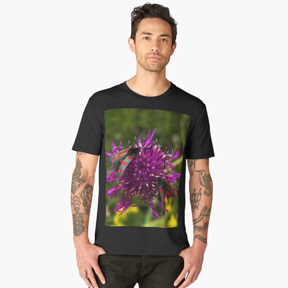 "Greater Knapweed with ""6-spot Burnet"" Moths Men's Premium T-Shirt Front"