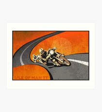 retro motorcycle Isle of Man TT poster Art Print