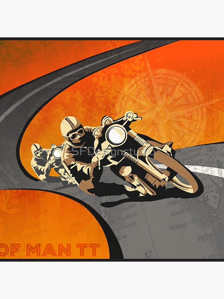 retro motorcycle Isle of Man TT poster by SFDesignstudio