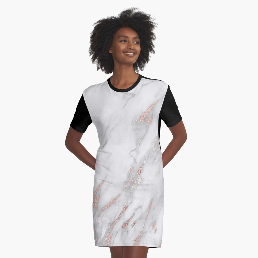 Eleganter Rose Gold Marmor T-Shirt Kleid Vorne