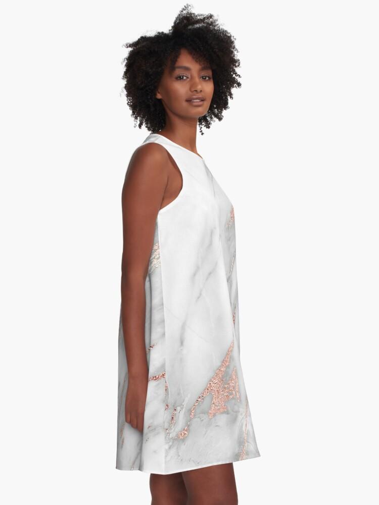 Alternative Ansicht von Eleganter Rose Gold Marmor A-Linien Kleid