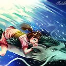 Spirited Away, Haku and Chihiro by michelledraws