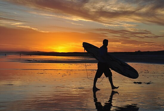 Surfer Silhouette - Redhead Beach NSW Australia by Bev Woodman