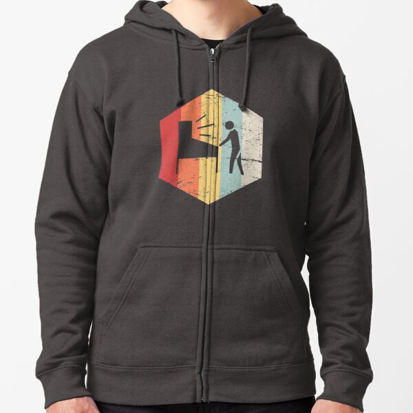 Retro 70s Pinball Player Zipped Hoodie