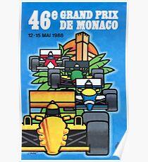 1988 Monaco Grand Prix Racing Poster Poster
